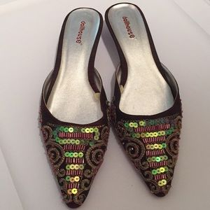 Dollhouse Shoes - Dollhouse pointed toe kitten heel beaded shoes 6
